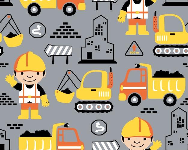 nahtloses Muster mit Baufahrzeugkarikatur Premium Vektoren
