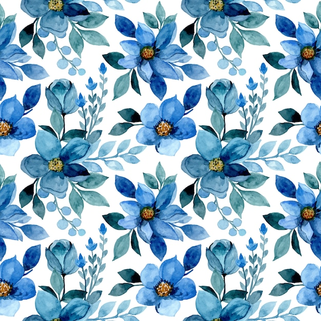 Nahtloses muster mit blauem blumenaquarell Premium Vektoren