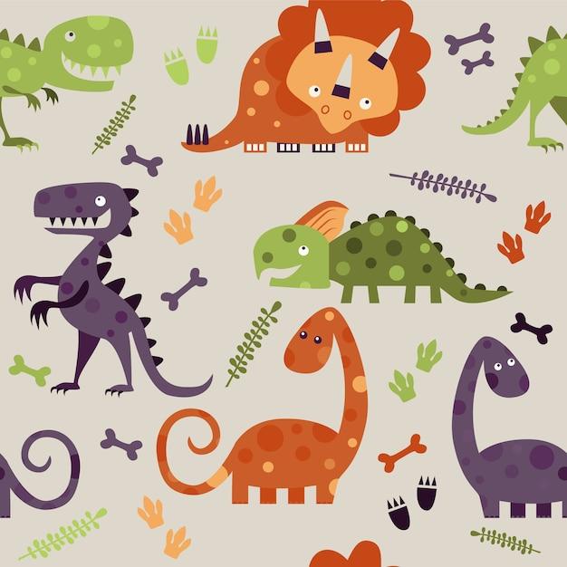 Nahtloses muster mit bunten dinosauriern Premium Vektoren