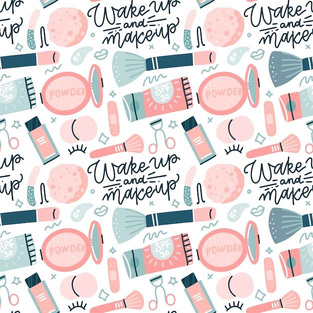 Nahtloses muster mit bunten make-up-symbolen des flachen stils. hand gezeichnete illustrationen von verschiedenen kosmetikartikeln auf weißem hintergrund mit handgezeichneter beschriftung Premium Vektoren