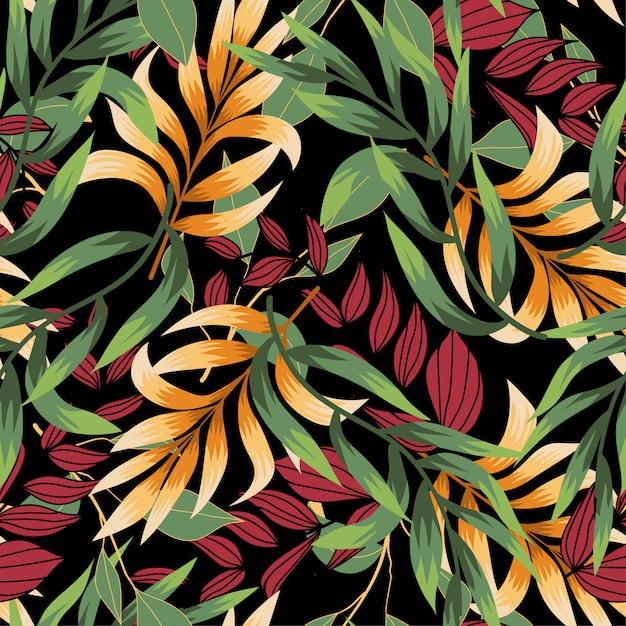 Nahtloses muster mit bunten tropischen blättern und pflanzen Premium Vektoren