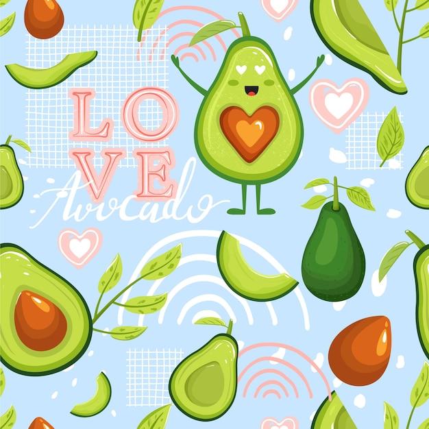 Nahtloses muster mit cartoon-avocado-früchten. kreative collage. Premium Vektoren