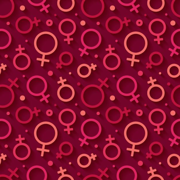 Nahtloses muster mit dem weiblichen geschlechtssymbol. Premium Vektoren