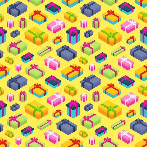 Nahtloses muster mit den isometrischen farbigen geschenkboxen Premium Vektoren