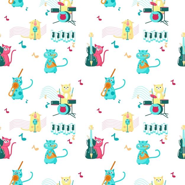 Nahtloses muster mit den niedlichen kleinen katzen, die musikinstrumente spielen und singen. Premium Vektoren