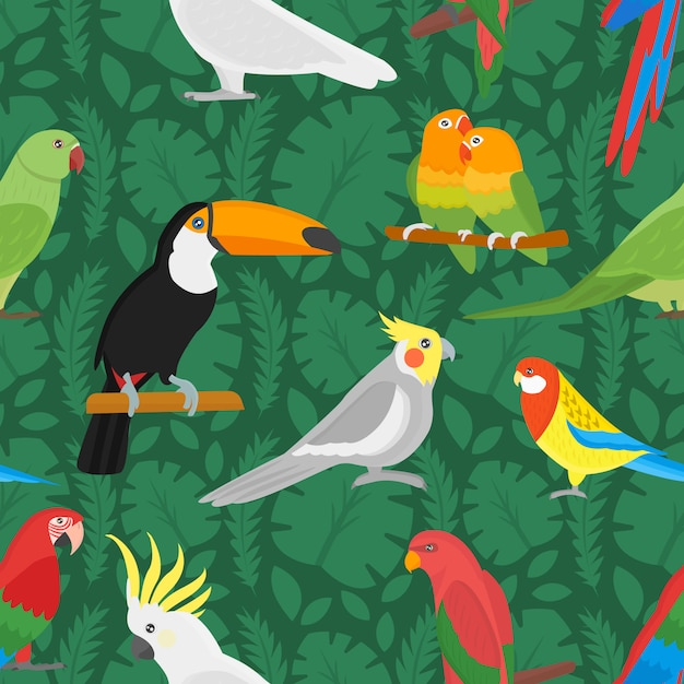 Nahtloses muster mit exotischer blume und palmblatt des tropischen vogeltukans und des mehrfarbenpapageien. Premium Vektoren