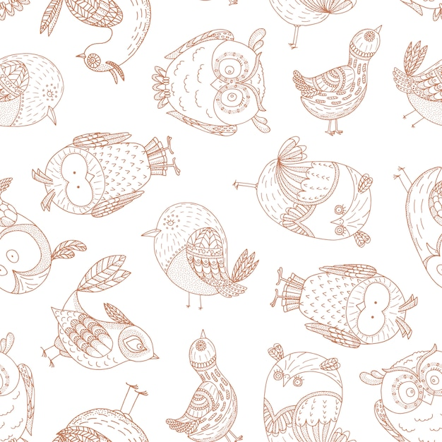 Nahtloses muster mit fabelhaften vögeln. Premium Vektoren