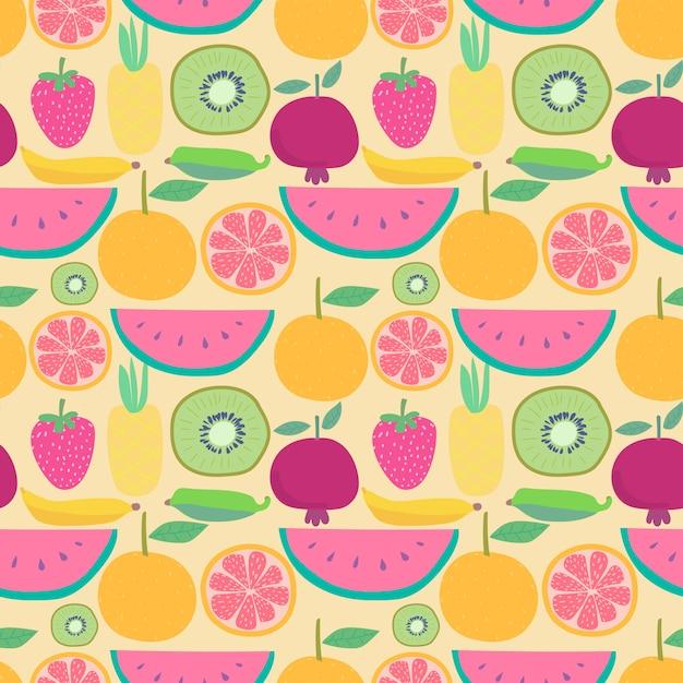 Nahtloses muster mit früchten. vektorillustrationen für geschenkverpackungsdesign. Premium Vektoren