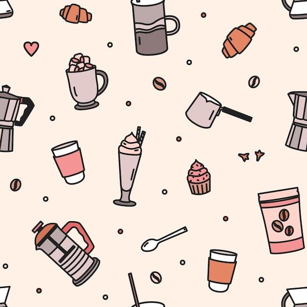Nahtloses muster mit gebäck, milchshake, werkzeugen und utensilien zum kaffeebrühen Premium Vektoren