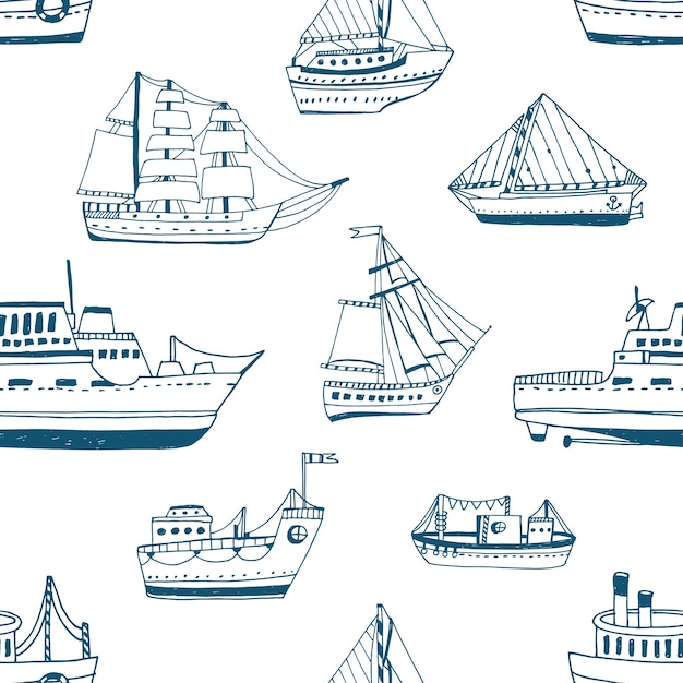 Nahtloses muster mit gekritzelschiffen, yachten, booten, segelboot, segelboot, seeschiff. Premium Vektoren
