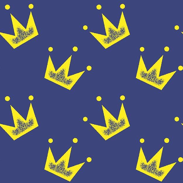 Nahtloses muster mit gelber krone auf blau für tapete, packpapier, für modedrucke, gewebe, design. Premium Vektoren