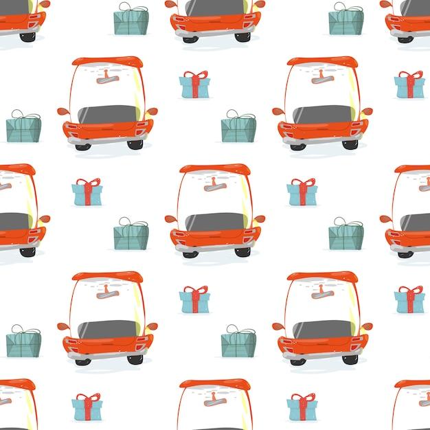 Nahtloses muster mit geschenkboxen und roten autos Premium Vektoren