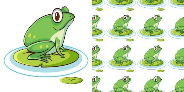 Nahtloses muster mit grünem frosch auf seerose Kostenlosen Vektoren