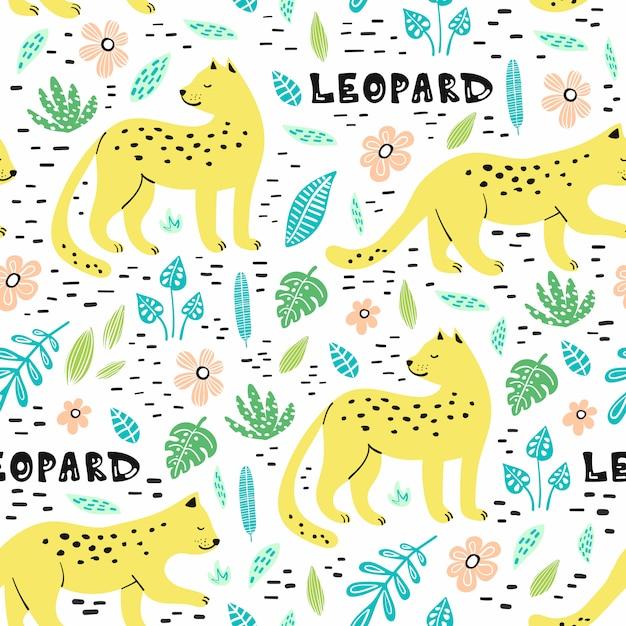 Nahtloses muster mit hand gezeichneten leoparden Premium Vektoren