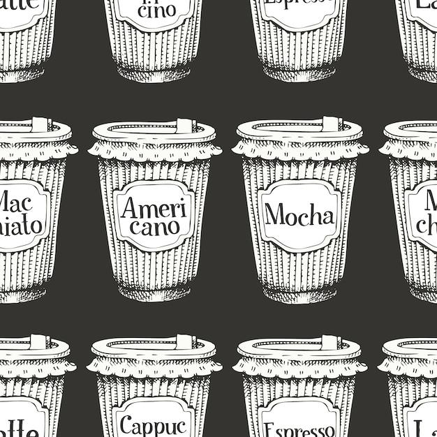 Nahtloses muster mit hand gezeichneten tasse kaffees zum mitnehmen Premium Vektoren