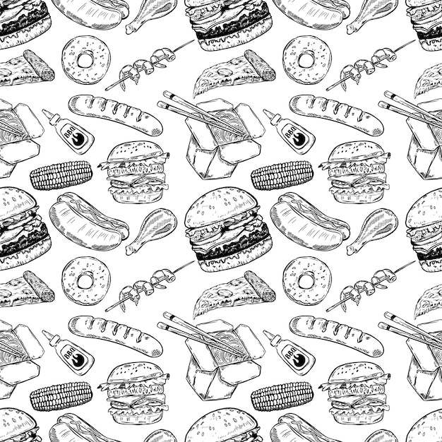 Nahtloses muster mit handgezeichnetem fast food. burger, donut, hot dog, chinesisches essen. illustration Premium Vektoren