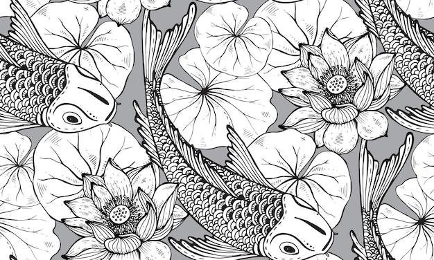 Nahtloses muster mit handgezeichnetem koi-fisch mit lotus Premium Vektoren