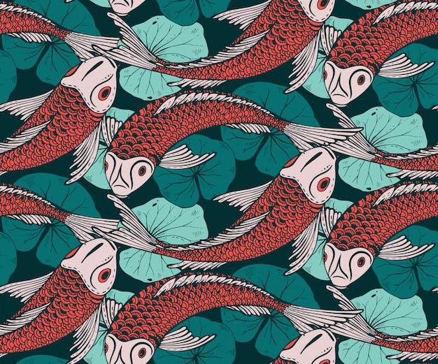 Nahtloses muster mit handgezeichnetem koi-fisch Premium Vektoren