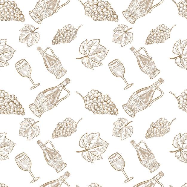Nahtloses muster mit handgezeichneter weinflasche, weinglas und trauben. element für poster, karte, banner, menü, flyer, paket. illustration Premium Vektoren