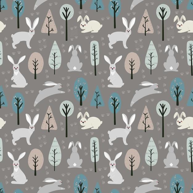 Nahtloses muster mit hase, kaninchen und verschiedenen elementen. illustrationshand gezeichnet im skandinavischen stil. Premium Vektoren