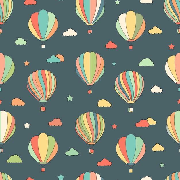 Nahtloses muster mit heißluftballonen, sterne, wolken Premium Vektoren