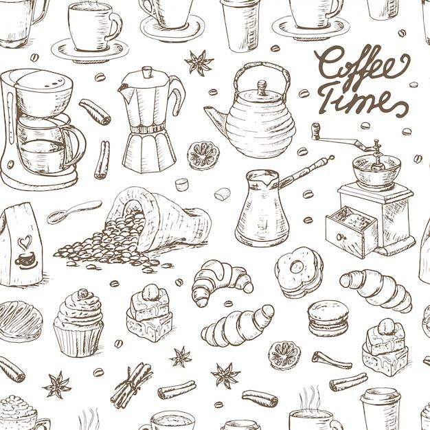 Nahtloses muster mit kaffeeelementen Premium Vektoren