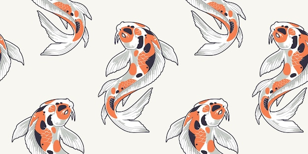 Nahtloses muster mit koi-fisch. endlose textur mit japanischen karpfen. Premium Vektoren