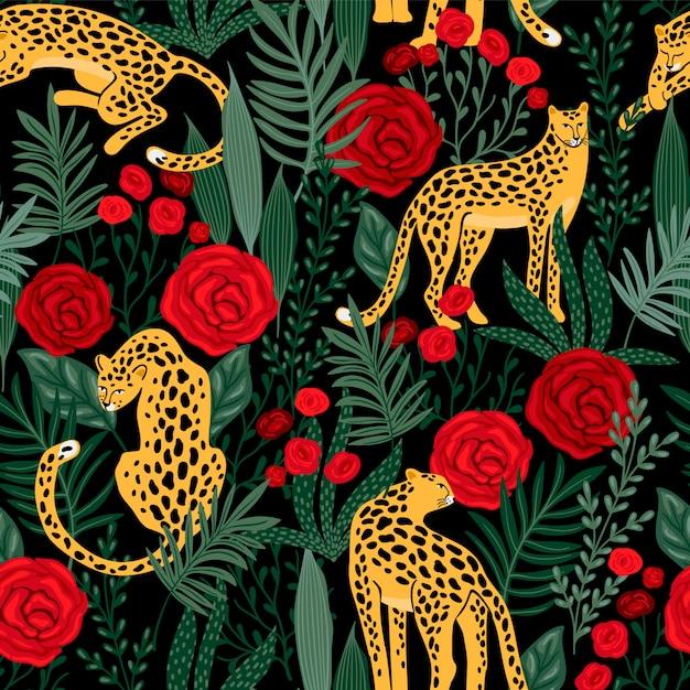 Nahtloses muster mit leoparden und rosen. Premium Vektoren