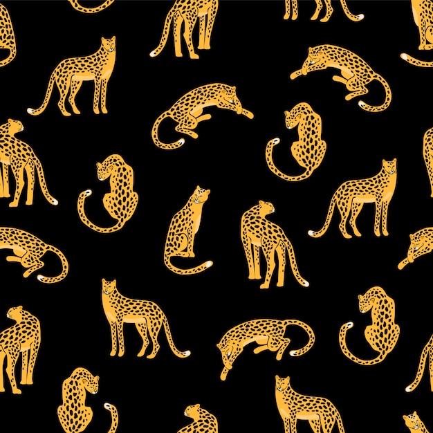 Nahtloses muster mit leoparden. Premium Vektoren