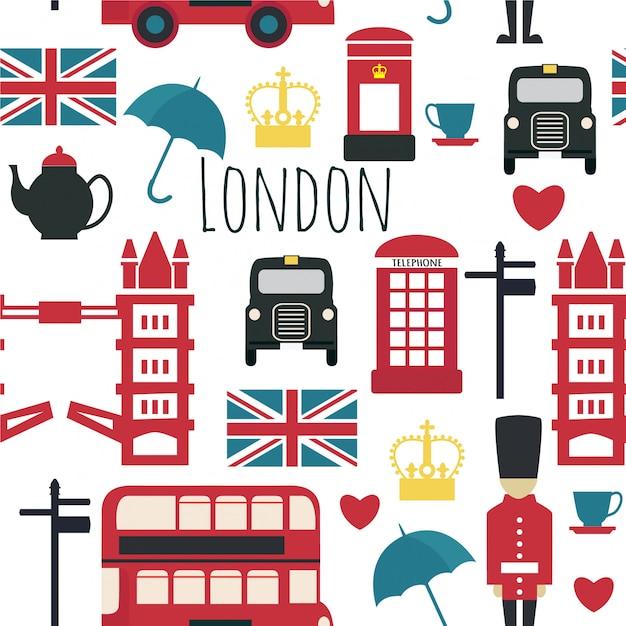 Nahtloses muster mit londons symbolen. Premium Vektoren