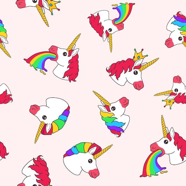 Nahtloses muster mit lustigem einhorn-erbrochenem regenbogen der karikatur, mit krone und regenbogenhaar auf hellem hintergrund Premium Vektoren