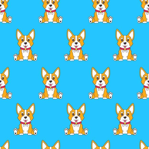 Nahtloses muster mit lustigem hundecorgi der karikatur, der auf blauem hintergrund sitzt Premium Vektoren