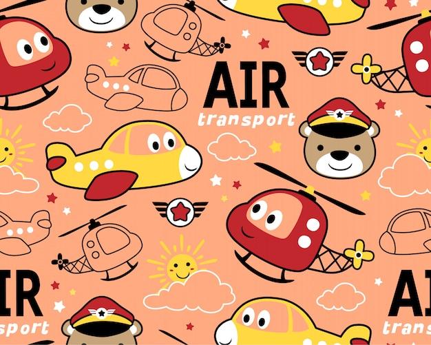 Nahtloses muster mit lustigem lufttransport Premium Vektoren