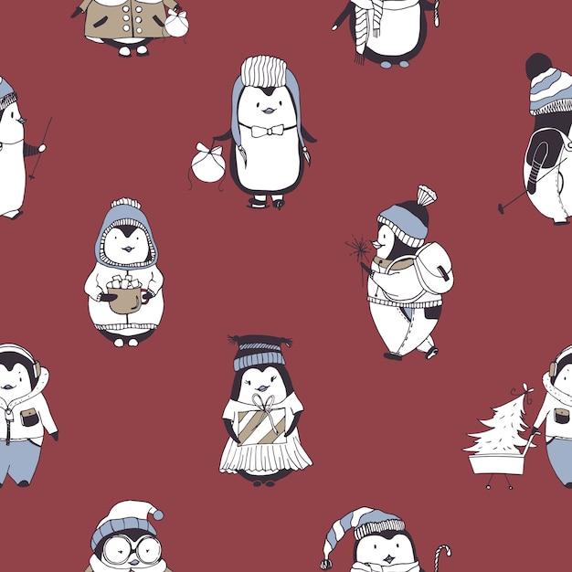 Nahtloses muster mit lustigen babypinguinen, die verschiedene winterkleidung auf rot tragen Premium Vektoren