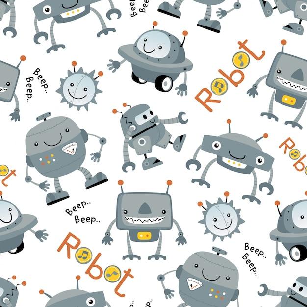 Nahtloses muster mit lustiger roboterkarikatur Premium Vektoren