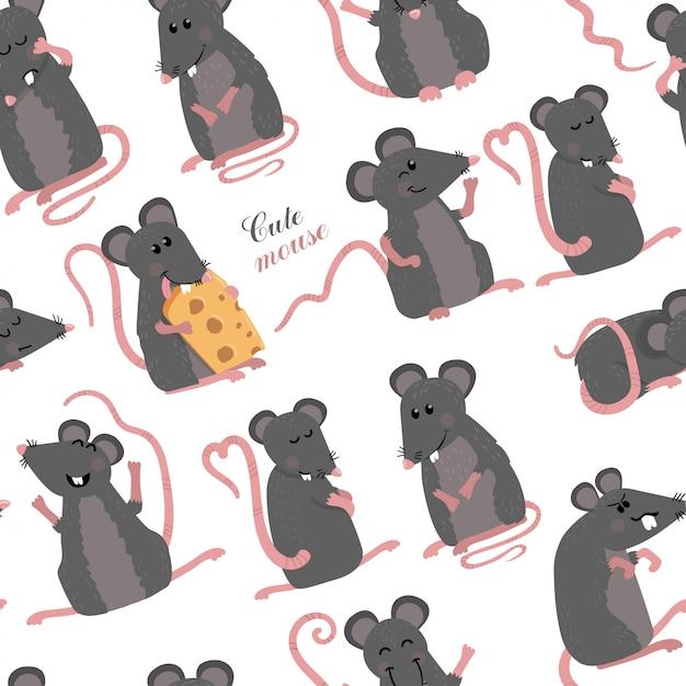 Nahtloses muster mit mäusen Premium Vektoren