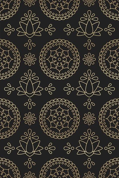 Nahtloses muster mit mandala, lotus und blume der indischen verzierung im goldenen farbverlauf der orientalischen motive auf schwarzem hintergrund Premium Vektoren
