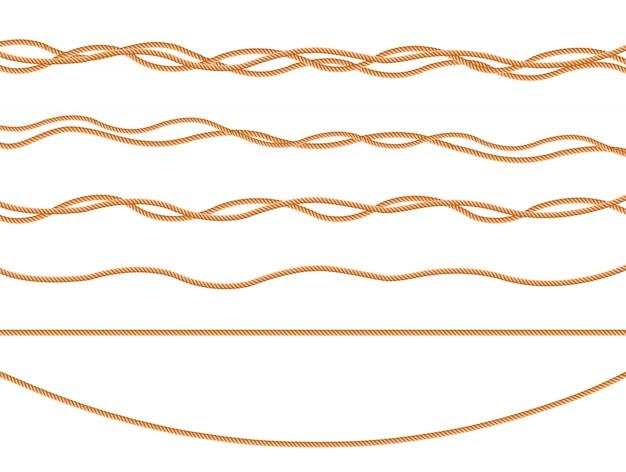 Nahtloses muster mit marineseilknoten in verschiedene richtungen. knoten von seilen Premium Vektoren