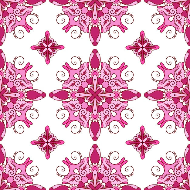 Nahtloses muster mit mehrfarbigem dekorativem mandala Premium Vektoren