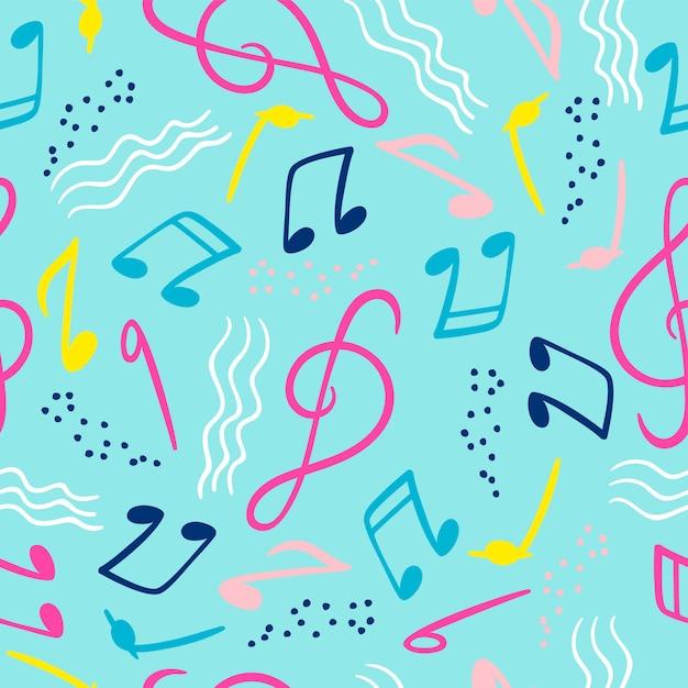 Nahtloses muster mit musikalischen anmerkungen für musikfestivals, sommerfeste. Premium Vektoren