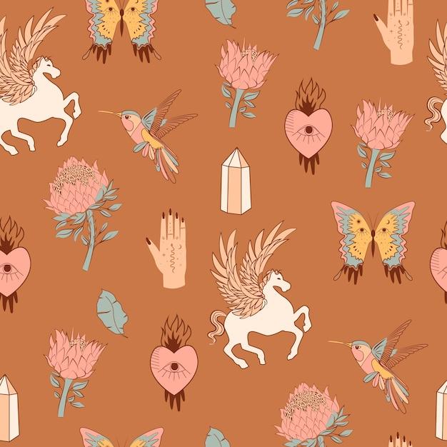 Nahtloses muster mit mystischen elementen. pferd mit flügeln, vögeln, protea-blume, kristall, boho-schmetterling, wahrsagerhand. Premium Vektoren