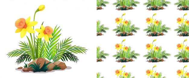 Nahtloses muster mit narzissenblüten auf steinen Kostenlosen Vektoren