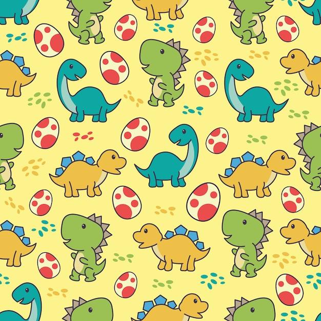 Nahtloses muster mit nettem dinosauriercharakter Premium Vektoren