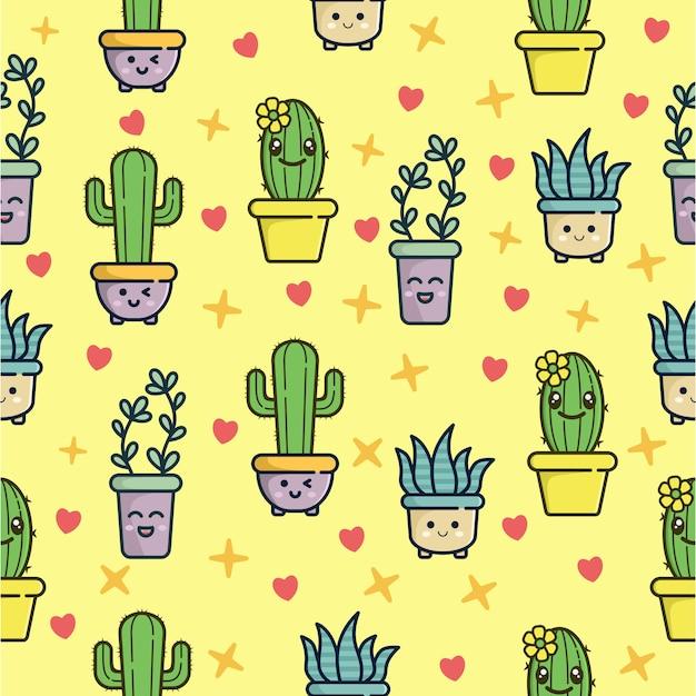 Nahtloses muster mit nettem kaktuscharakter Premium Vektoren