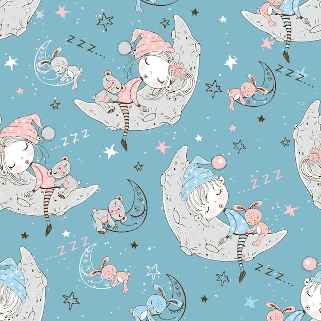 Nahtloses muster mit netten kindern in den pyjamas, die auf den mondmonaten schlafen. Premium Vektoren