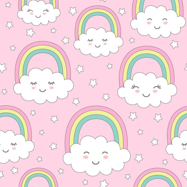 Nahtloses muster mit netten wolken, regenbogen und sternen. Premium Vektoren
