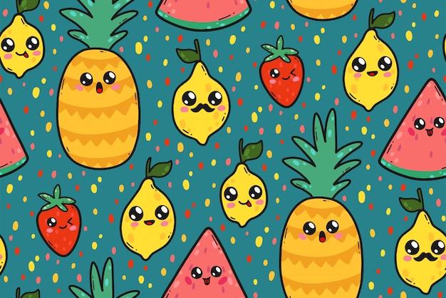 Nahtloses muster mit netten zitronen, wassermelonen und erdbeeren in japan-kawaii art. Premium Vektoren