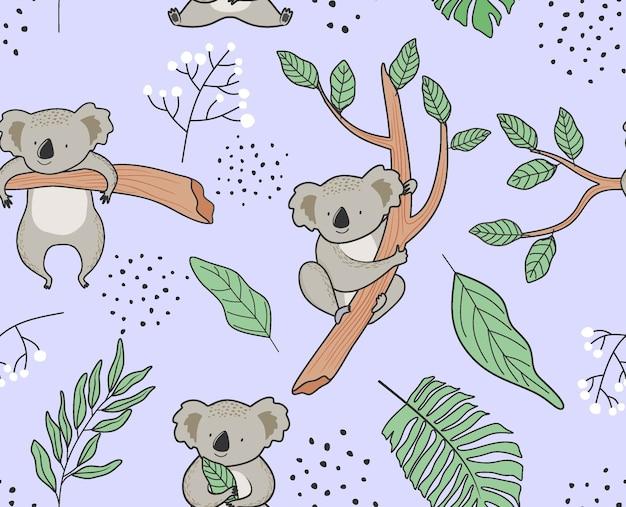 Nahtloses muster mit niedlichem koala. Premium Vektoren