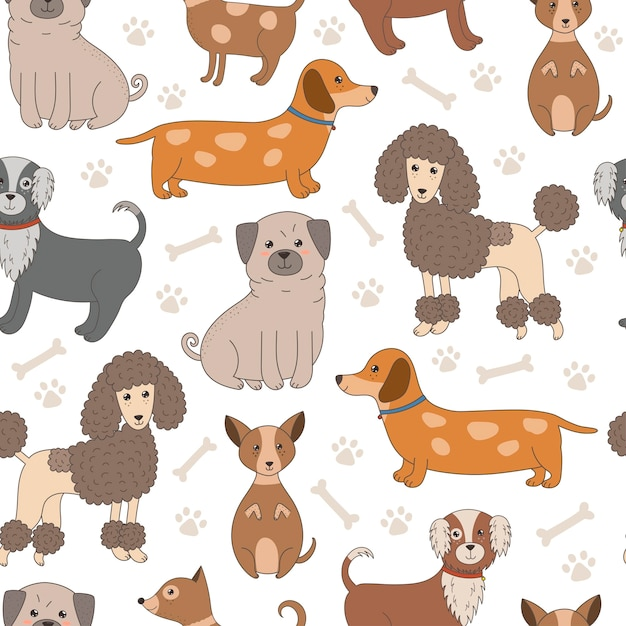 Nahtloses muster mit niedlichen hunden Premium Vektoren
