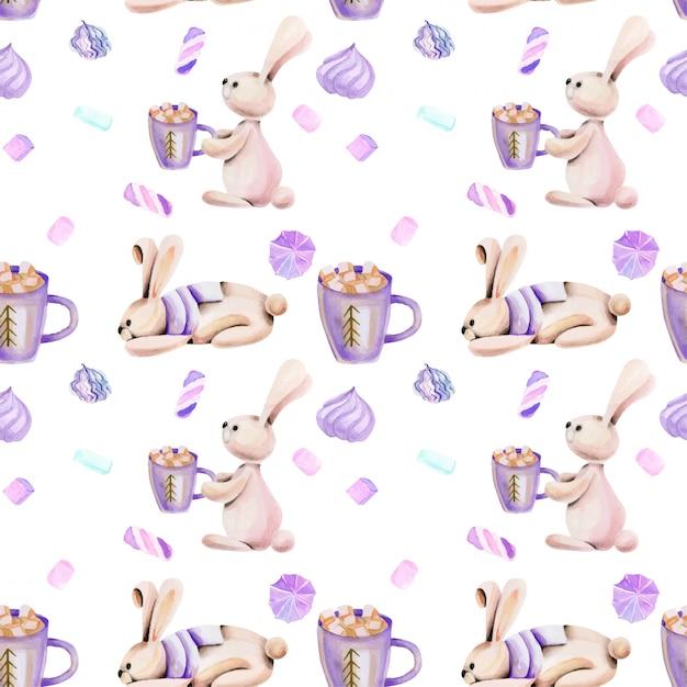 Nahtloses muster mit niedlichen kaninchen und eibisch des aquarells Premium Vektoren
